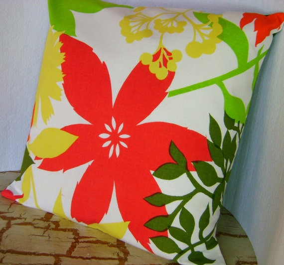On Island Time - Tropical Flowers Pillow Cover - 16 inch