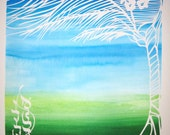 Palm Tree Ketubah - handcut papercut with calligraphy and watercolor background painting