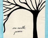 On Earth, Peace - cards - 6x6 inches - with envelopes - set of 6 prints of original handcut papercut and calligraphy