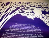Birches Ketubah - Deep Purple to Rose Background with White Lettering