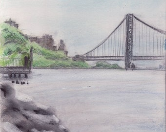 Hudson River above 214th St - Inwood - NYC - Manhattan - print of original pastel and pencil drawing - 8x10 inches - matted