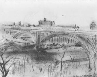 Washington Bridge NYC - print of original pencil sketch - from Highbridge Park