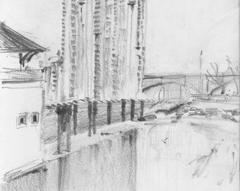 NYC - Bronx from Swindler Cove - high rise apartments - waterways - print of original pencil sketch