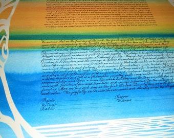 Papercut Artwork Ketubah - Seashore Sunset - Calligraphy
