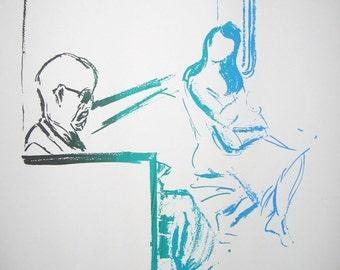 Subway Moment - Hand pulled silkscreen print - original sketch - series of 8