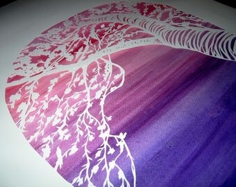 Cherry Tree and Lotus Ketubah - handcut papercut on deep purple and rose background