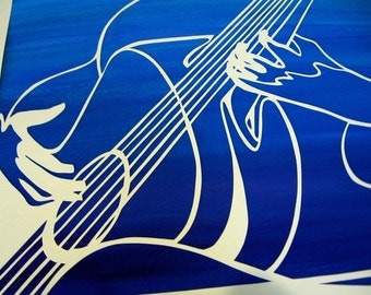 Guitarist Papercut - 16x20 inch white on deep blue mix