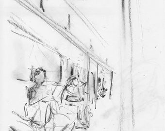 One Train Scene - NYC subway - print of original pencil drawing