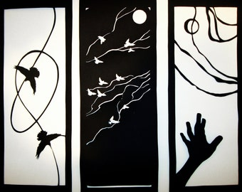 Triptych - 3 Spring Notations on Bipeds - papercut artwork in black and white