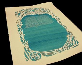 Quaker Wedding Certficate - Flowering Trees - Ketubah - Papercut Artwork