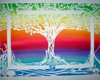 Rainbow Ketubah Tree