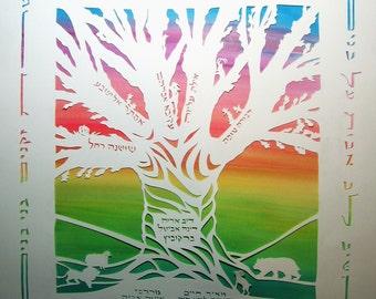 Family Tree Papercut Artwork - Hebrew or Any Language