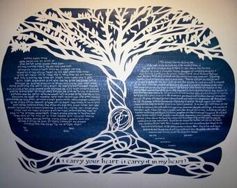 Banyan Tree Ketubah with e e cummings quote - ketuba - papercut artwork - calligraphy