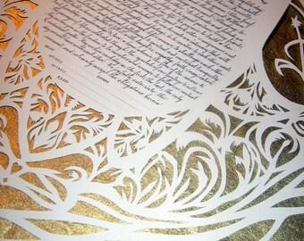Traditional Hamsa Papercut Ketubah