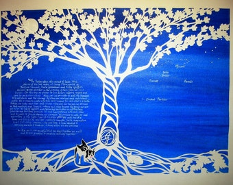 Happiness Tree with Dogs and Cat - papercut wedding artwork - handcut - calligraphy