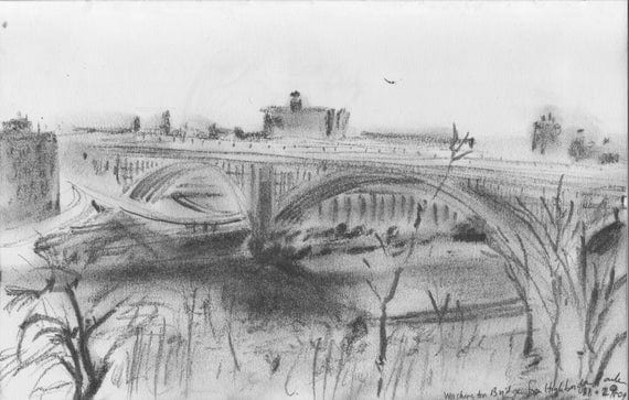 Artculos similares a Puente Washington NYC  grabado de dibujo a