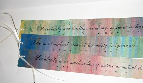 Set of 3 Hand Lettered Bookmarks - Original Calligraphy - Quotes by Emma Goldman and Pyotr Kropotkin