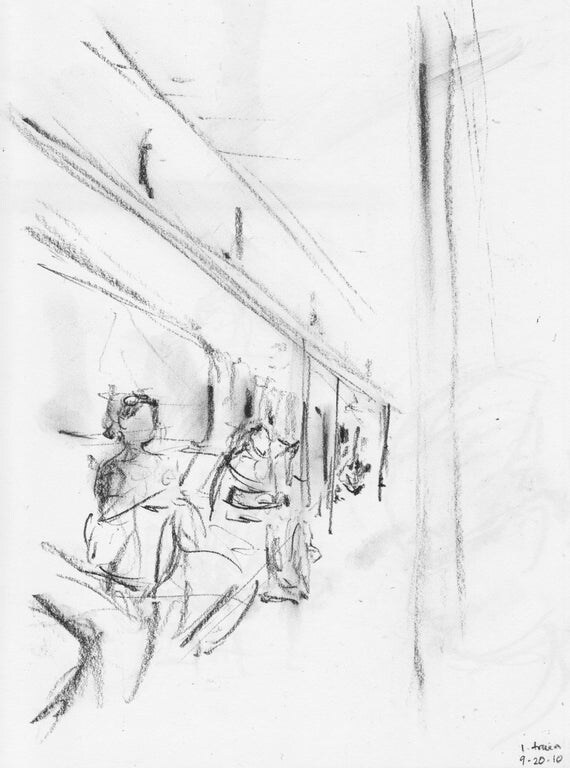 One Train Scene - NYC subway - print of original pencil drawing