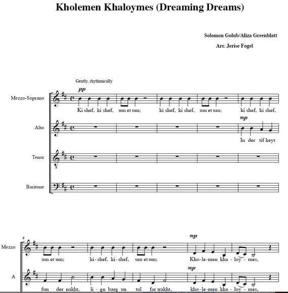 PIF - Kholemen Khaloymes - Dreaming Dreams - Yiddish choral arrangement - sheet music PDF file