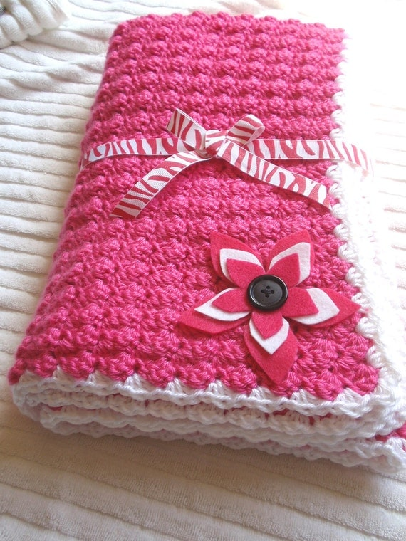 handmade crochet baby blankets handmade crocheted baby blanket in white pink and black with 8813