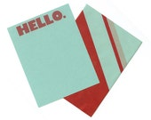 Red and Pool Stripe Hello Note Set