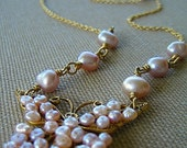 pale pink pearl butterfly necklace