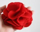Large Red Felt Flower Hair Barrette