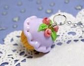 Lavender Rosebud Lampwork Cupcake Pendant
