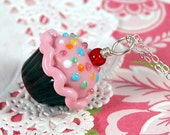 Pink and Chocolate Sprinkle Lampwork Cupcake Pendant - aStudiobytheSea