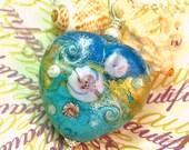 Cerulean Blue and Turquoise Oceana Lampwork Heart Pendant