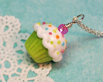 Lime Green Lampwork Sprinkle Cupcake Pendant