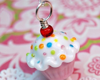 Pink and White Sprinkle Lampwork Cupcake Pendant
