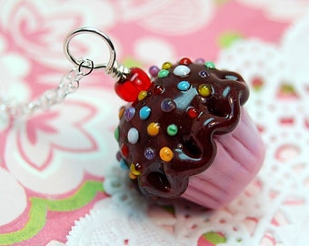 Chocolate and Pink Sprinkle Lampwork Cupcake Pendant