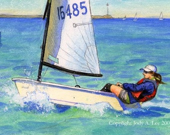 Sailboat Cabrillo Point Original Oil Painting