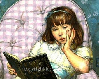 Girl Reading Original Oil Painting