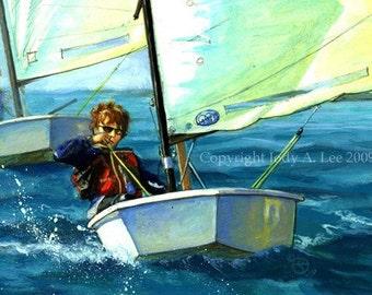 Opti Sailboat Original Oil Painting