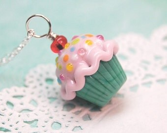 50's Retro Pink and Green Sprinkle Lampwork Cupcake Pendant