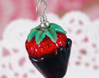 Chocolate Dipped Strawberry Lampwork Glass Pendant