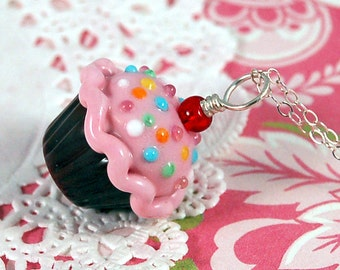 Pink and Chocolate Sprinkle Lampwork Cupcake Pendant