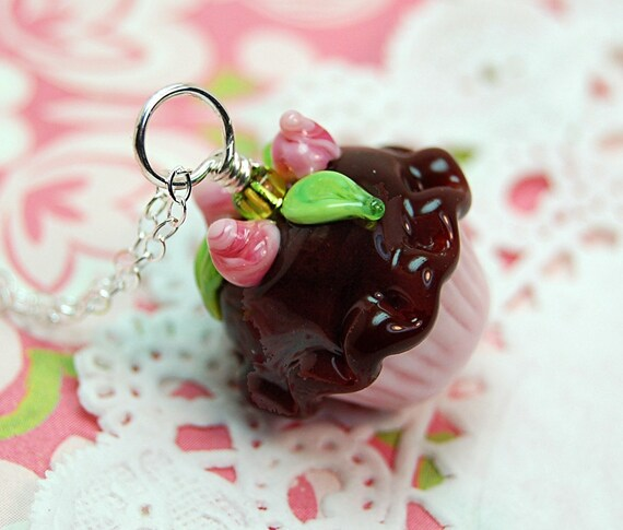Chocolate and Pink Rosebud Lampwork Cupcake Pendant