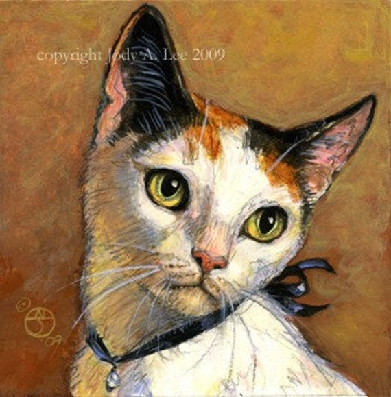 Japanese Bobtail Cat Original Oil Painting