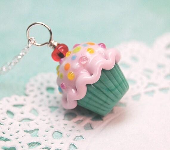 50's Retro Pink and Green Sprinkle Lampwork Cupcake Pendant