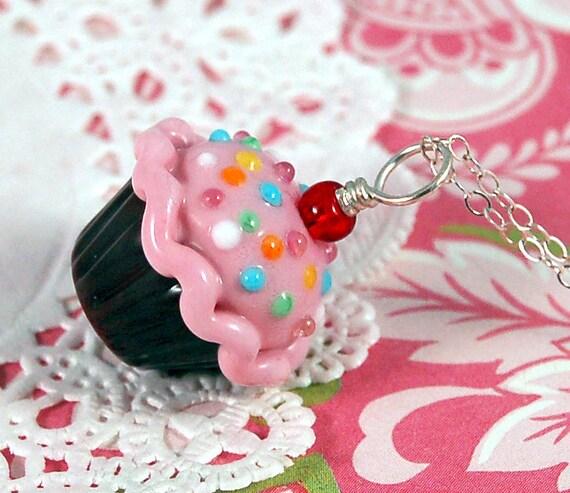 Pink and Chocolate Sprinkle Lampwork Cupcake Pendant