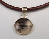 Montana Agate Sterling Silver Leather Pendant Necklace  Free US Shipping
