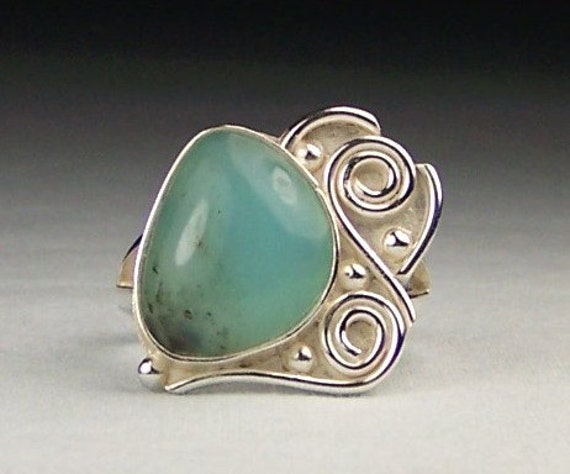 Blue Peruvian Opal Silver Ring Size 8 Reserved for Cynthia