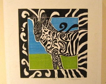 Zebra in Blue and Green