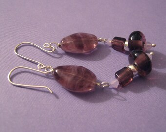 SALE - Purple Glass Earrings - Plum Drop (E-178)