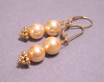 Golden Pearl Earrings - on Gold Plated Leverbacks (E-302)