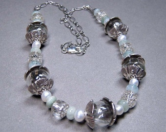 SALE - Glass Bubbles, Aquamarines, Freshwater Pearls and Sterling Silver Necklace (N-105)