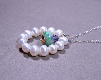 SALE - Circle Pearls Necklace - Freshwater Pearls with Lampwork Glass Drop on Sterling Silver (N-112)